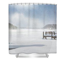 Snow On Lake Charlevoix Shower Curtain