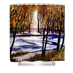 Snow On Lower Pasture Tonight Shower Curtain by Randy Sprout