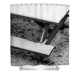 Snow On Picnic Table Shower Curtain