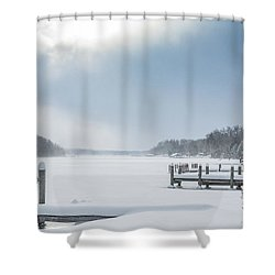 Snow On The Lake Shower Curtain