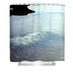 Snow On The Mountains Flying To Alaska Shower Curtain by Merton Allen