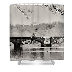 Snow On The River Shower Curtain by Bill Cannon