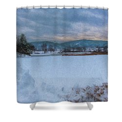 Snow On The West River Shower Curtain