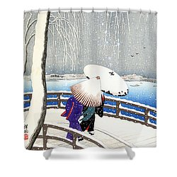 Snow On Willow Bridge By Koson Shower Curtain
