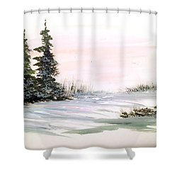 Snow Over The Pasture Shower Curtain