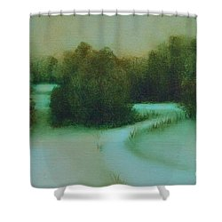 Snow Path Shower Curtain by Jana Baker