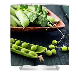 Snow Peas Or Green Peas Still Life Shower Curtain by Vishwanath Bhat