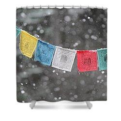 Snow Prayers Shower Curtain