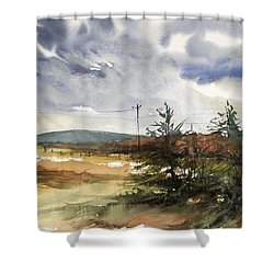 Snow Sky In Fall Shower Curtain