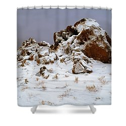 Snow Stones Shower Curtain