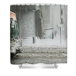 Shower Curtain featuring the photograph Snow Storm Bus Stop by Stephen Holst