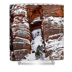 Snow Stripes Shower Curtain by Christopher Holmes