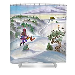 Snow Tang - Story Illustration 5 - Age 12 Shower Curtain by Dawn Senior-Trask