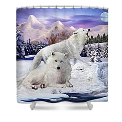 Snow Wolves Of The Wild Shower Curtain by Glenn Holbrook