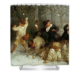 Snowballing Shower Curtain by John Morgan