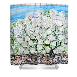 Shower Curtain featuring the painting Snowballs Flowers by Evelina Popilian