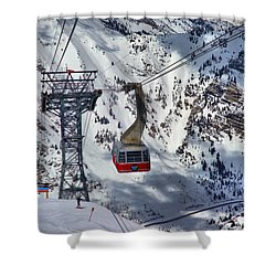 Snowbird Tram Portrait Shower Curtain