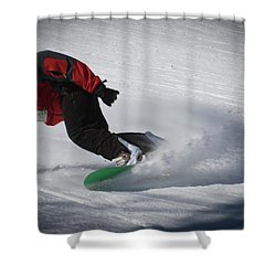 Shower Curtain featuring the photograph Snowboarder On Mccauley by David Patterson
