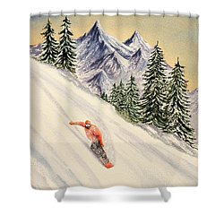 Shower Curtain featuring the painting Snowboarding Free And Easy by Bill Holkham