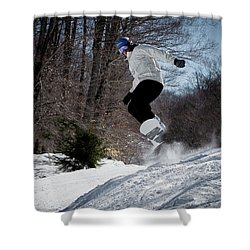 Shower Curtain featuring the photograph Snowboarding Mccauley Mountain by David Patterson