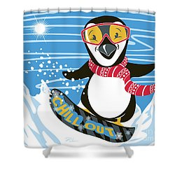 Snowboarding Penguin Shower Curtain