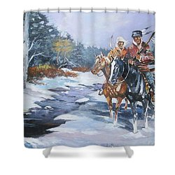 Snowbound Hunters Shower Curtain