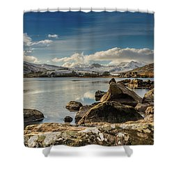 Shower Curtain featuring the photograph Snowdon From Llynnau Mymbyr by Adrian Evans