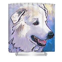 Shower Curtain featuring the painting Snowdoggie by Nadi Spencer