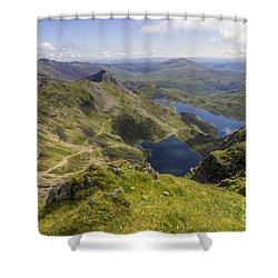 Snowdon Summit Shower Curtain by Ian Mitchell