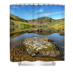 Shower Curtain featuring the photograph Snowdonia Mountain Reflections by Adrian Evans