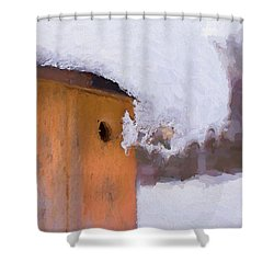 Shower Curtain featuring the photograph Snowdrift On The Bluebird House by Gary Slawsky