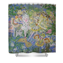 Shower Curtain featuring the painting Snowdrop The Fairy And Friends by Judith Desrosiers