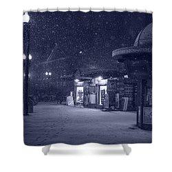 Snowfall In Harvard Square Cambridge Ma Kiosk Monochrome Blue Shower Curtain