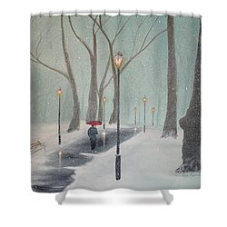 Snowfall In The Park Shower Curtain