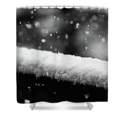 Snowfall On The Handrail Shower Curtain by Jason Coward
