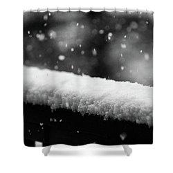Snowfall On The Handrail Shower Curtain