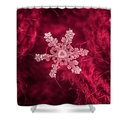 Snowflake On Red Shower Curtain