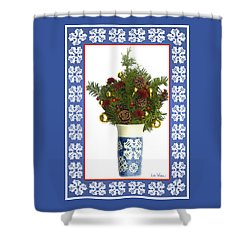 Shower Curtain featuring the digital art Snowflake Vase With Christmas Regalia by Lise Winne