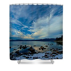 Snowgasm Shower Curtain by Sean Sarsfield