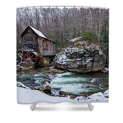 Snowing At The Mill  Shower Curtain