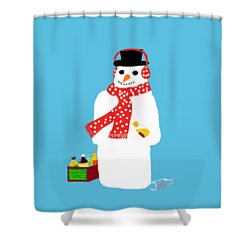 Snowman Shower Curtain by Barbara Moignard