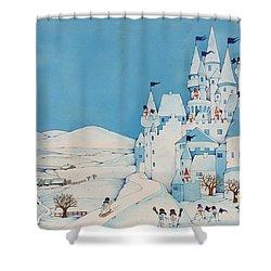 Snowman Castle Shower Curtain by Christian Kaempf