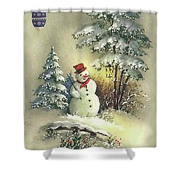 Snowman Christmas Card Shower Curtain