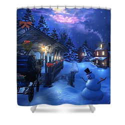 Snowman Crossing Shower Curtain