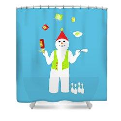 Snowman Juggler Shower Curtain by Barbara Moignard