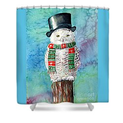 Snowman Owl Shower Curtain by LeAnne Sowa