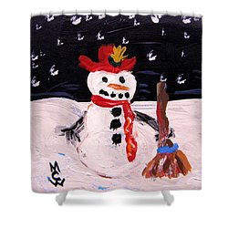 Snowman Under The Stars Shower Curtain by Mary Carol Williams