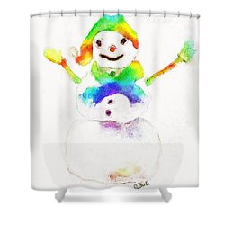 Snowman With Rainbow 1 Shower Curtain by Claire Bull