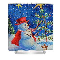 Shower Curtain featuring the painting Snowmas Christmas by Li Newton