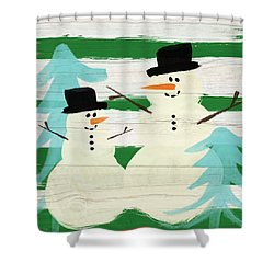 Snowmen With Blue Trees- Art By Linda Woods Shower Curtain by Linda Woods